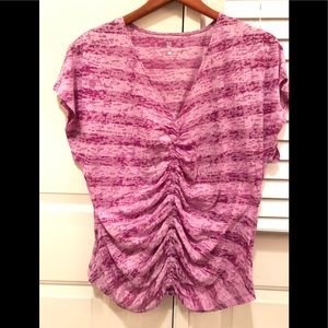 Sheer gathered top with pink & purple stripes XL